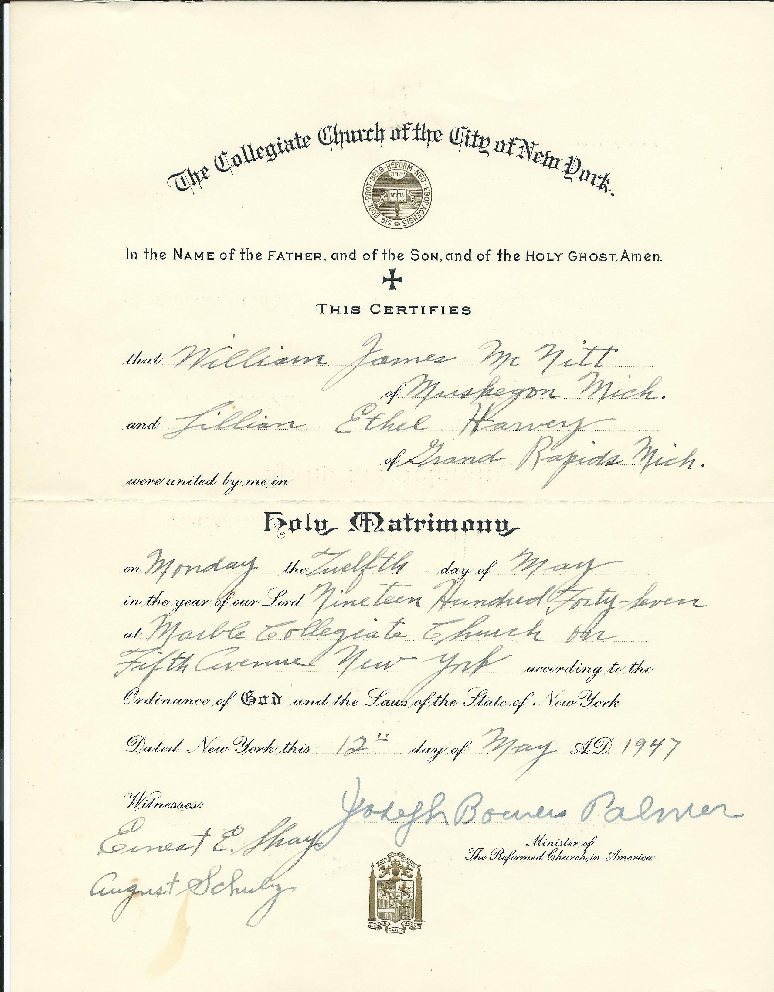 Marriage to lilian harvey 1947 marriage certificate 1betcityfo Gallery