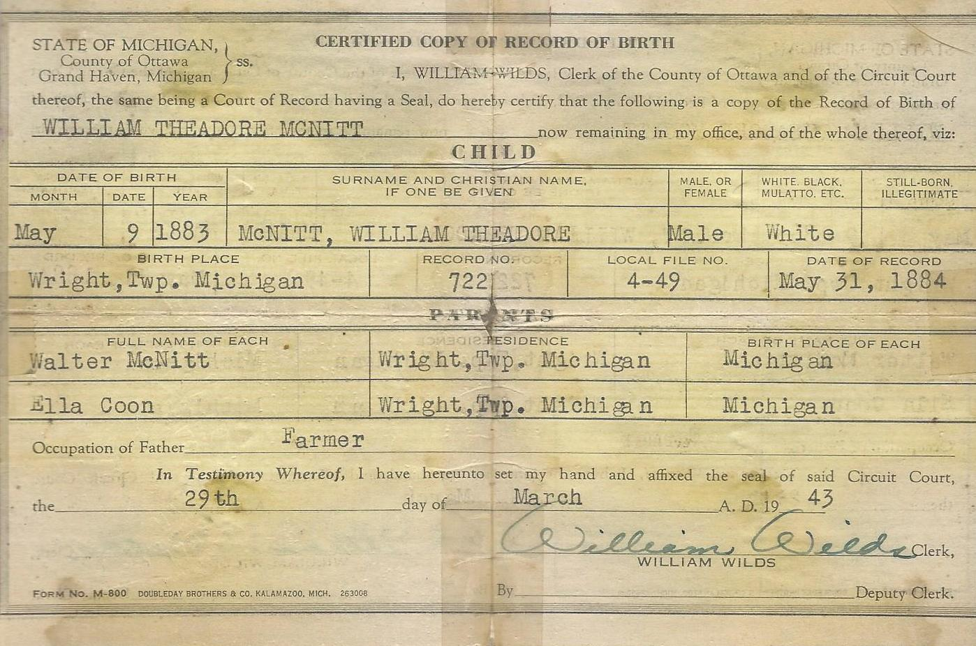 Agencies in the State of Michigan (MI) who provide Birth Certificates